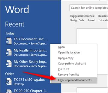 Thủ thuật MS Word: Dọn dẹp trình đơn Recent Documents
