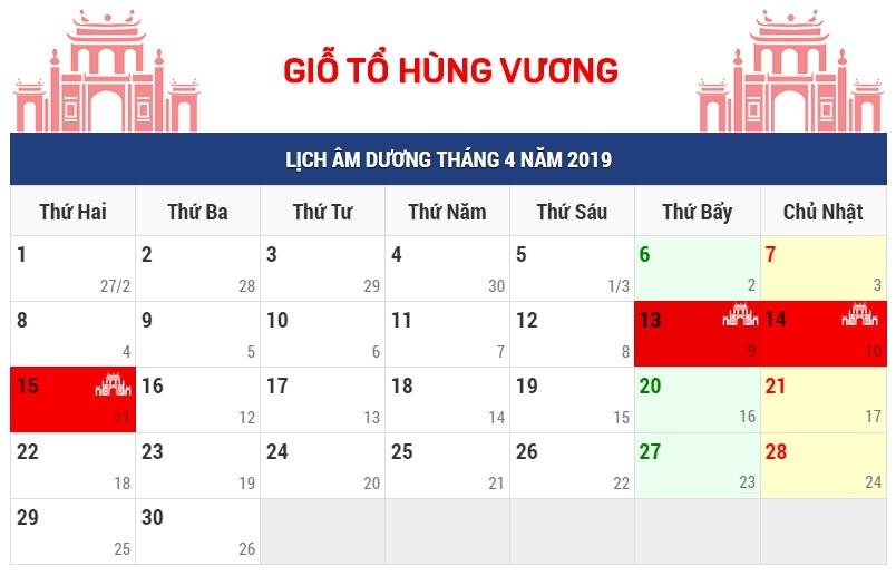 Thông báo lịch nghỉ lễ giỗ tổ Hùng Vương, 30/04 và 01/05 năm 2019
